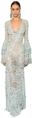 Raisa & Vanessa Fringed Embellish Knit Long Dress