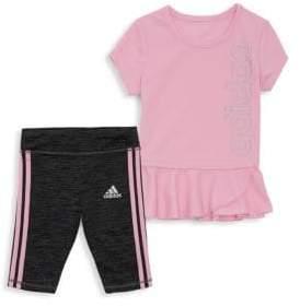 adidas Baby Girl's Two-Piece Peplum Top & Capri Tight Set