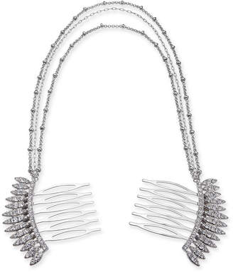 INC International Concepts I.N.C. Silver-Tone Crystal Comb Triple-Layer Drape Hair Clip, Created for Macy's