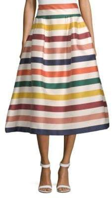 Carolina Herrera Striped Silk-Blend Midi Skirt