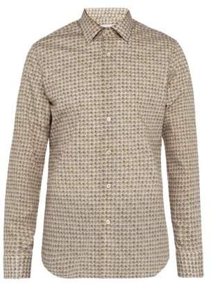 Prada Circle Print Slim Fit Cotton Shirt - Mens - Green Multi