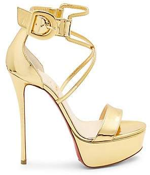 Christian Louboutin Women's Choca 130 Mirrored Leather Platform Sandals