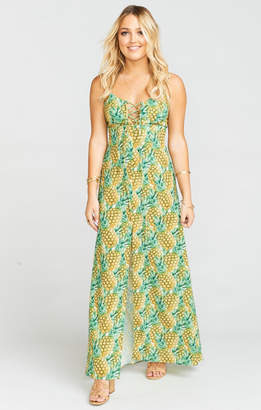 MUMU Leyton Lace Up Maxi ~ Pineapple Paradise Crinkle