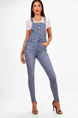 boohoo Tall Button Through Denim Dungarees