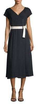 Max Mara Short Sleeve Belted Midi Dress