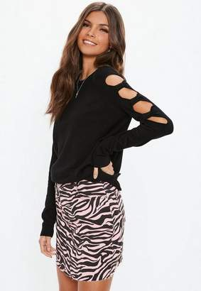 Missguided Black Bow Sleeve Sweater