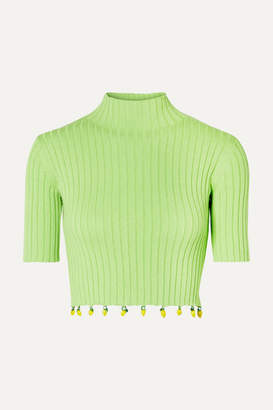 STAUD Rocky Embellished Ribbed Cotton Turtleneck Top - Light green