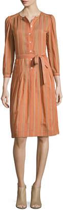 A.P.C. 3/4-Sleeve Striped Shirtdress, Brick