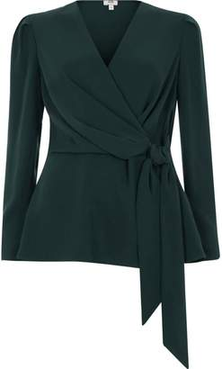 River Island Womens Dark green tie front wrap blouse