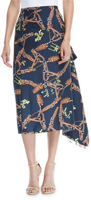 Tibi Renzo Scarf-Print Asymmetric Midi Skirt