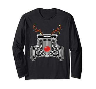 Hot Rod Reindeer Long Sleeve Funny Christmas Ride Shirt