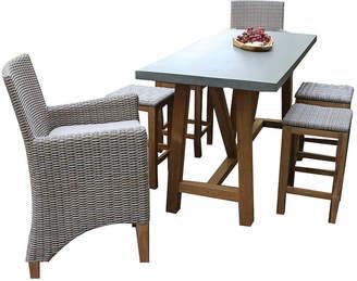 OUTDOOR INTERIORS Outdoor Interiors Natural Teak Rectangle Bar TableDining set