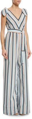 Lela Rose Striped V-Neck Bow-Tie Belted Wide-Leg Jumpsuit