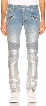 Balmain Slim Ribbed Zip Pocket Jean in Bleu | FWRD