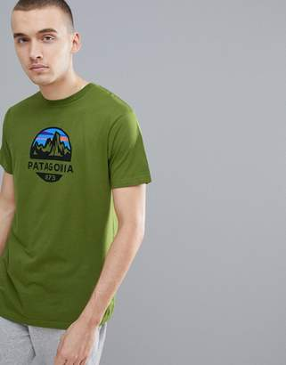 Patagonia Fitz Roy Scope Print Slim Fit T-Shirt Organic In Green