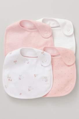 Next Girls Pink/White 4 Pack Bibs - Pink