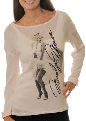 Monroe Marilyn Juniors' Printed Hi-Low Hacci Top With Cuffed Sleeve