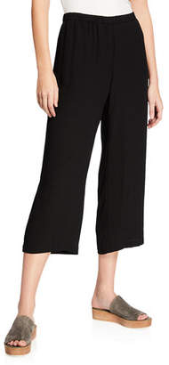 Eileen Fisher Cropped Silk Georgette Straight-Leg Pants, Petite