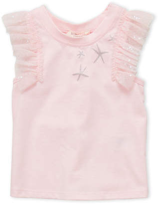Baby Sara Girls 4-6x) Glitter Star Flutter Tee
