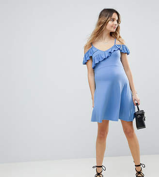 Asos Cold Shoulder Skater Sundress with Ruffle