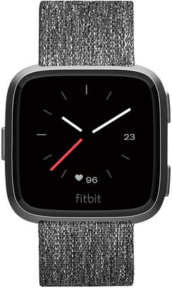 Fitbit Versa Charcoal Woven Band Touchscreen Smart Watch 39mm