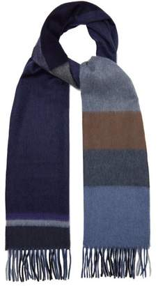Co Begg & Aaran Tartan Cashmere Scarf - Mens - Grey Multi