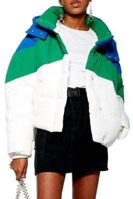 Topshop PETITE Fergie Colourblock Puffer Jacket