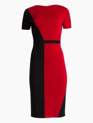 St. John Slanted Color Block Milano Dress