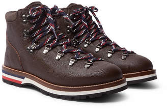 Moncler Peak Pebble-Grain Leather Hiking Boots