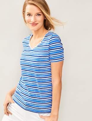 Talbots Short-Sleeve V-Neck-Water Stripes-The Tee