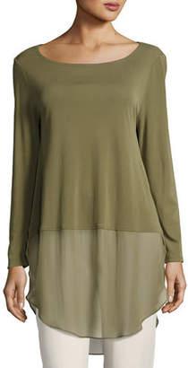 Eileen Fisher Long-Sleeve Silk Jersey Tunic w/ Sheer Layer, Petite