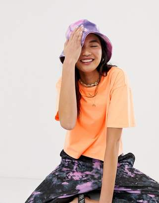 Asos Design DESIGN boxy neon t-shirt with grown on neck in bright orange