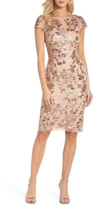 Adrianna Papell Metallic Floral Sequin Cocktail Dress