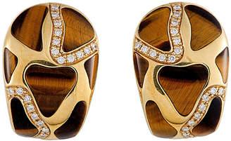 Roberto Coin 18K 0.63 Ct. Tw. Diamond & Tiger's Eye Earrings