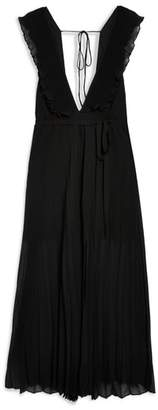 Topshop Pleated Plunge Chiffon Maxi Dress