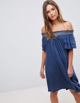 En Creme En Crme Short Sleeve Off The Shoulder Dress