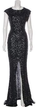 Rachel Zoe Sequined Sleeveless Evening Dress