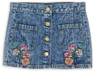 GUESS Girl's Floral Embroidered Denim Skirt