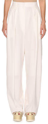 Agnona High-Waist Superfine Poplin Double-Pleated Pants