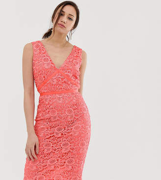 38f6d9f75f4 Paper Dolls Tall v neck lace pencil dress in coral