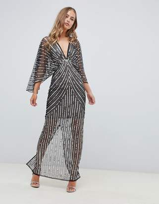 Asos Design DESIGN kimono maxi dress in linear sequin