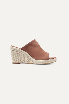Stuart Weitzman Marabella Suede Espadrille Wedge Sandals - Light brown