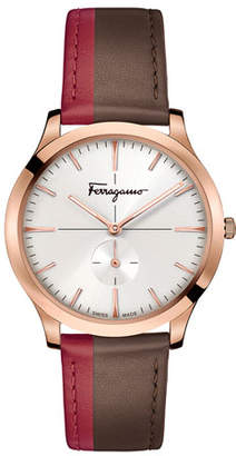 Salvatore Ferragamo Men's Slim Formal Leather Watch, Rose