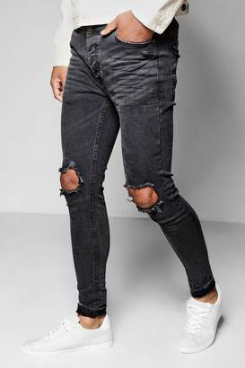 boohoo Skinny Fit Raw Edge Jeans With Open Knee Rips
