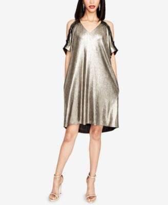 Rachel Roy Women's Cold Shoulder Metallic Shift with Lace