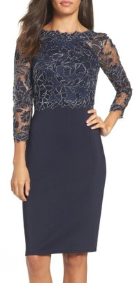 Women's Tadashi Shoji Lace & Neoprene Sheath Dress $348 thestylecure.com