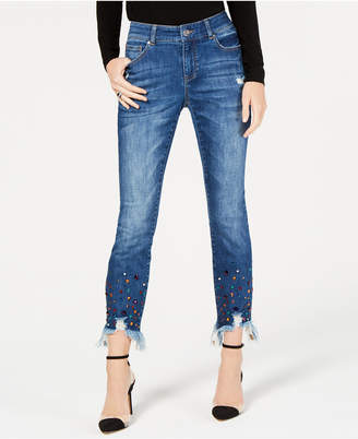 INC International Concepts I.n.c. Petite Rainbow-Jewel-Embellished Skinny Ankle Jeans