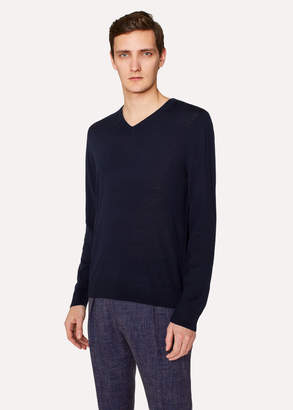 Paul Smith Men's Navy V-Neck Merino Wool Sweater