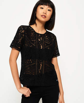 Superdry Orchid Lace Panelled Top