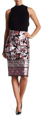 ECI Shiny Floral Pencil Skirt